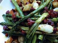 Image: Pork with asparagus, piquillo peppers and Butter Beans with chorizo