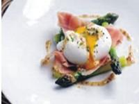 Roast asparagus, ham & poached egg salad